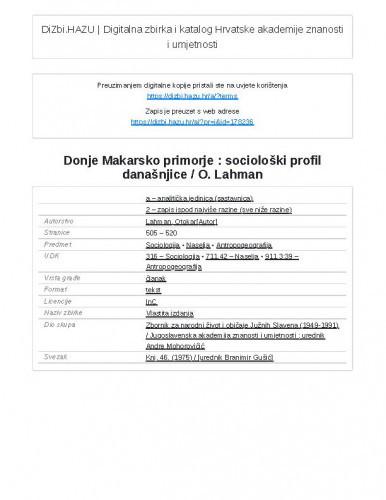 Donje Makarsko primorje : sociološki profil današnjice / O. Lahman