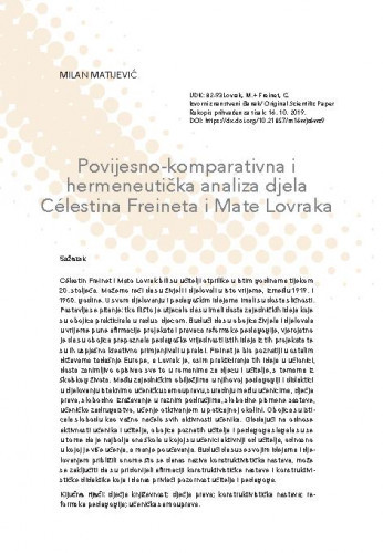 Povijesno-komparativna i hermeneutička analiza djela Célestina Freineta i Mate Lovraka / Milan Matijević