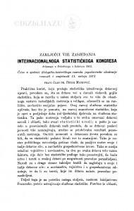 Zaključci VIII. zasjedanja internacionalnog statističkog kongresa držanog u Peterburgu u kolovozu 1872 / P. Matković