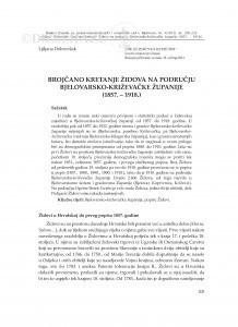 Brojčano kretanje Židova na području Bjelovarsko-križevačke županije (1857.-1918.) / Ljiljana Dobrovšak