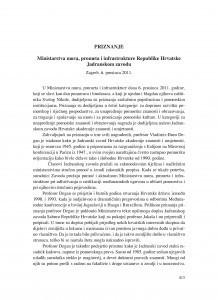 Priznanje Ministarstva mora, prometa i infrastrukture Republike Hrvatske Jadranskom zavodu, Zagreb, 6. prosinca 2011. godine : [izvješće] / Božena Bulum