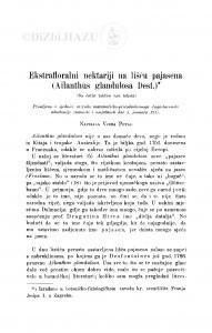 Ekstrafloralni nektariji na lišću pajasena (Ailanthus glandulosa Desf.) / V. Petaj