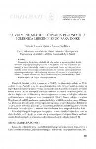 Suvremene metode očuvanja plodnosti u bolesnica liječenih zbog raka dojke / Velimir Šimunić, Marina Šprem Goldštajn