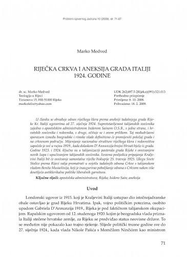 Riječka crkva i aneksija grada Italiji 1924. godine / Marko Medved