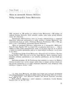 Skica za spomenik Simonu Bolivaru : prilog monografiji Ivana Meštrovića / Vesna Barbić