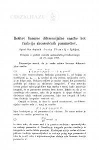 Rešitev linearne diferencijalne enačbe kot funkcija akcesorinih parametrov / J. Plemelj