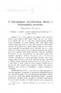 O bezvrijednosti fotoelektričkog zakona u fotokemijskim procesima / I. Plotnikov
