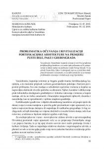 Problematika očuvanja i revitalizacije fortifikacijske arhitekture na primjeru Puste Bele, Pake i Grebengrada / Marijana Korunek