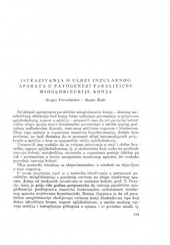Istraživanja o ulozi inzularnog aparata u patogenezi paralatičke mioglobinurije konja / S. Forenbacher i B. Rode