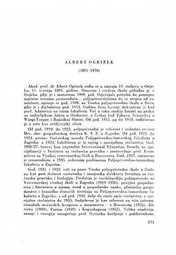 Albert Ogrizek (1891-1970) : [nekrolog] / M. Car