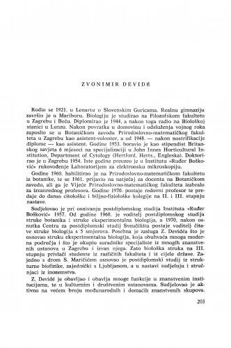 Zvonimir Devidé : [biografije novih članova Akademije]