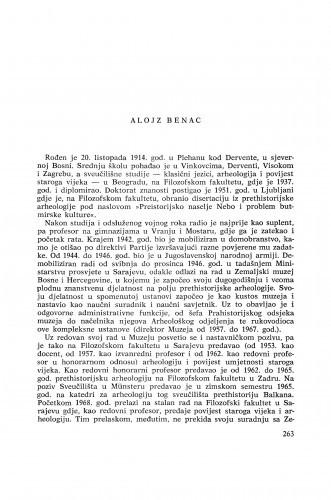Alojz Benac : [biografije novih članova Akademije]
