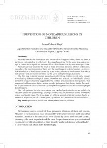 Prevention of noncarious lesions in children / Ivana Čuković-Bagić