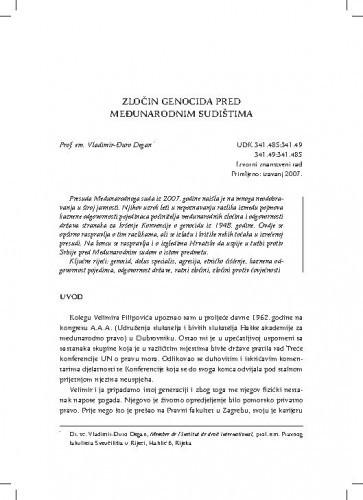 Zločin genocida pred međunarodnim sudištima / Vladimir-Đuro Degan