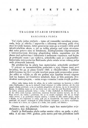 Tragom starih spomenika : Baščanska ploča / Branko Fučić