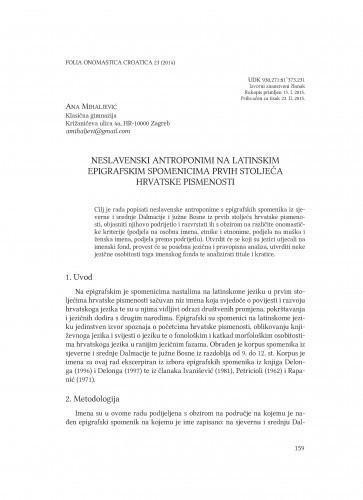 Neslavenski antroponimi na latinskim epigrafskim spomenicima prvih stoljeća hrvatske pismenosti / Ana Mihaljević