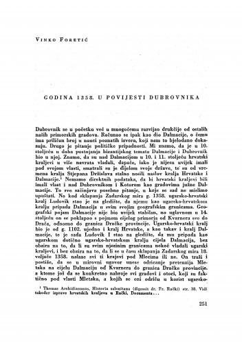 Godina 1358. u povijesti Dubrovnika / Vinko Foretić