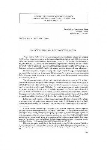 Rajićeva izdanja Relkovićeva Satira