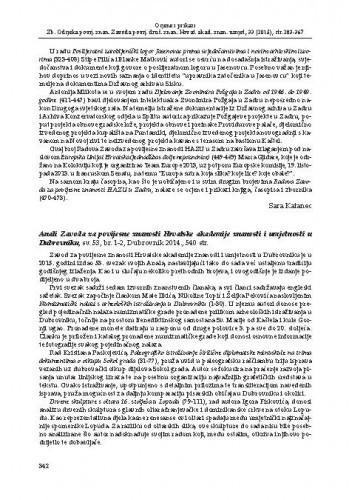 Anali Zavoda za povijesne znanosti Hrvatske akademije znanosti i umjetnosti u Dubrovniku, sv. 53, br. 1-2, Dubrovnik 2014. : [prikaz]