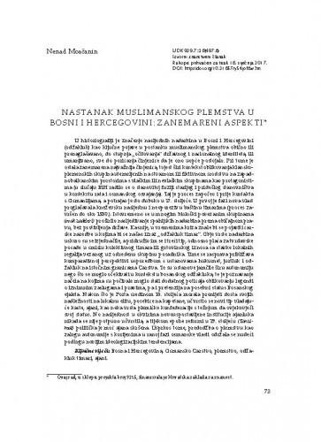 Nastanak muslimanskog plemstva u Bosni i Hercegovini: zanemareni aspekti / Nenad Moačanin
