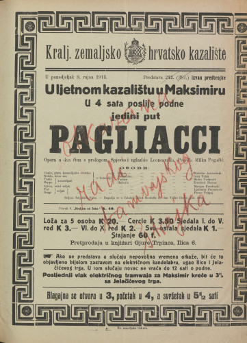 Pagliacci : Opera u dva čina s prologom