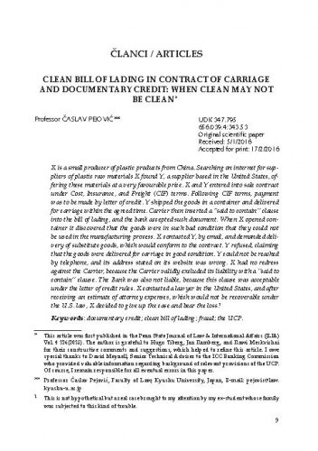 Clean bill of lading in contract of carriage and documentary credit : when clean may not be clean