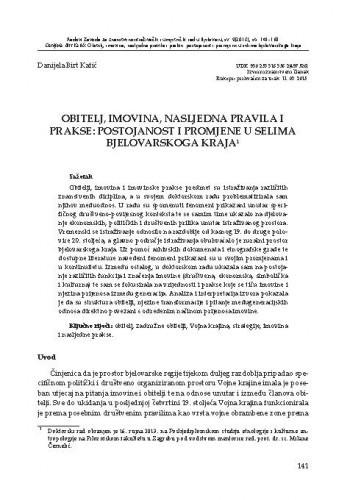 Obitelj, imovina, nasljedna pravila i prakse: postojanost i promjene u selima bjelovarskoga kraja