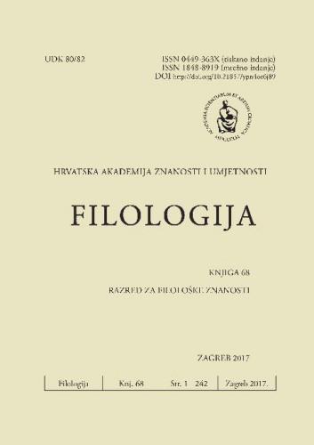 Knj. 68(2017) : Filologija : časopis Razreda za filološke znanosti Hrvatske akademije znanosti i umjetnosti