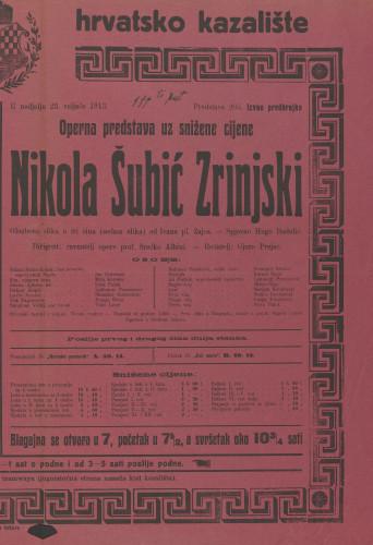 Nikola Šubić Zrinjski Glazbena slika u tri čina (sedam slika)