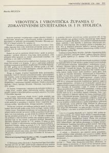 Virovitica i Virovitička županija u zdravstvenim izvještajima 18. i 19. stoljeća