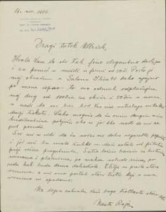 Pismo Naste Rojc Antunu Ullrichu, Zagreb (?), 16.11.1926.