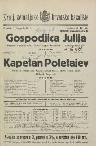 Gospodjica Julija ; Kapetan Poletajev Tragedija u jednom činu ; Drama u jednom činu