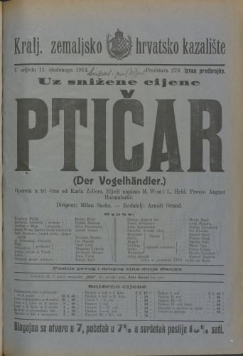 Ptičar Opereta u tri čina  =  DER VOGELHÄNDLER