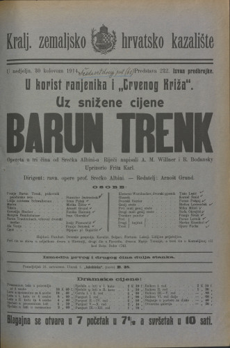 Barun Trenk Opereta u tri čina