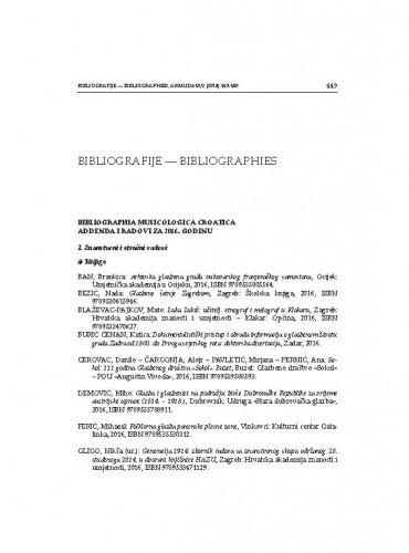 Bibliographia musicologica Croatica. Adenda i radovi za 2016. godinu / Vilena Vrbanić