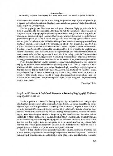 Josip Bratulić, Svetost i čovječnost. Rasprave o hrvatskoj hagiografiji, Knjižvni krug, Split 2018. : [prikaz] / Zoran Ladić