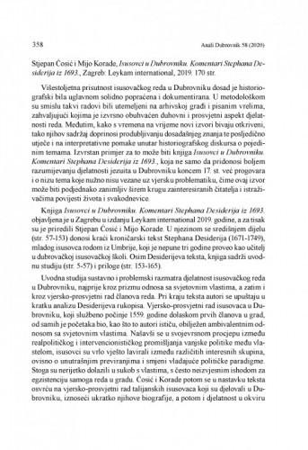 Stjepan Ćosić i Mijo Korade, Isusovci u Dubrovniku. Komentari Stephana Desiderija iz 1693., Zagreb: Leykam international, 2019 : [prikaz] / Ivan Grkeš
