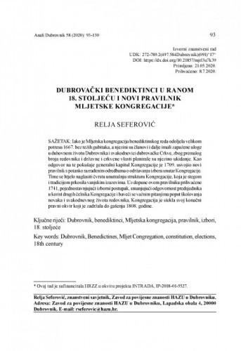 Dubrovački benediktinci u ranom 18. stoljeću i novi pravilnik Mljetske kongregacije / Relja Seferović