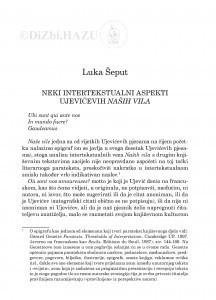 Neki intertekstualni aspekti Ujevićevih Naših vila / Luka Šeput