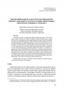 Srećko Bošnjaković kao začetnik forenzičke kemije u kontekstu razvoja sudsko-medicinskog vještačenja tijekom 19. stoljeća / Stella Fatović-Ferenčić ; Martin Kuhar