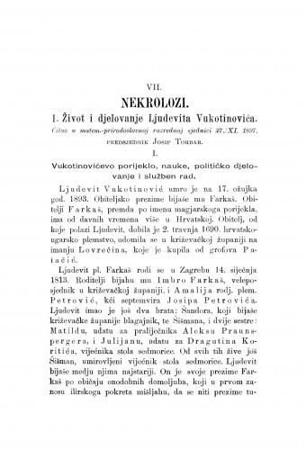 Život i djelovanje Ljudevita Vukotinovića : [nekrolog.] / J. Torbar