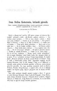 Ivan Bolica Kotoranin, latinski pjesnik / M. Šrepel