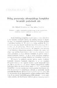 Prilog poznavanju adsorpcijskoga kompleksa hrvatskih podzolastih tala / Mihovil Gračanin, Jelena Verlić