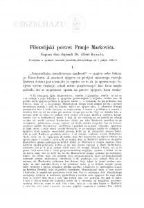 Filozofijski portret Franje Markovića / A. Bazala