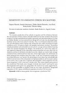 Sensitivity to oxidative stress: sex matters / Tatjana Marotti, Sandra Sobočanec, Željka Mačak-Šafranko, Ana Šarić, Borka Kušić, Tihomir Balog