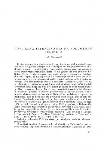 Povijesna istraživanja na poluotoku Pelješcu / A. Marinović