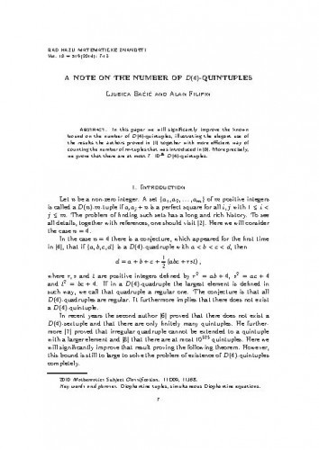 A note on the number of D(4)-quintuples / Ljubica Baćić, Alan Filipin