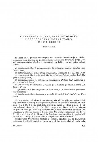Kvartargeološka, paleontološka i speleološka istraživanja u 1974. godini : [izvještaji i rasprave] / M. Malez