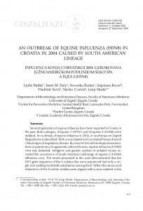 An outbreak of equine influenza (H3N8) in Croatia in 2004 caused by South American lineage : Influenca konja u Hrvatskoj 2004. uzrokovana južnoameričkom podlinijom serotipa A equine-2 (H3N8) / Ljubo Barbić, Janet M. Daly, Nevenka Rudan, Snježana Kovač, Vladimir Savić, Slavko Cvetnić, Josip Madić