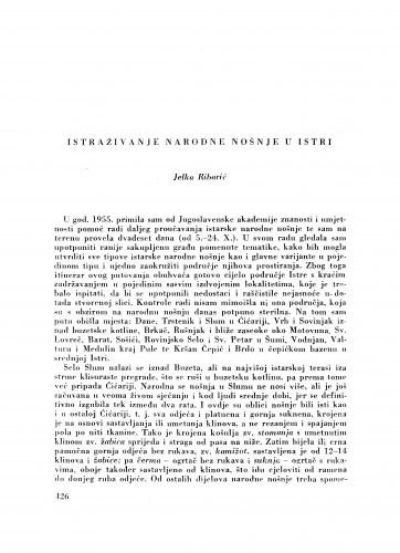 Istraživanje narodne nošnje u Istri / J. Ribarić